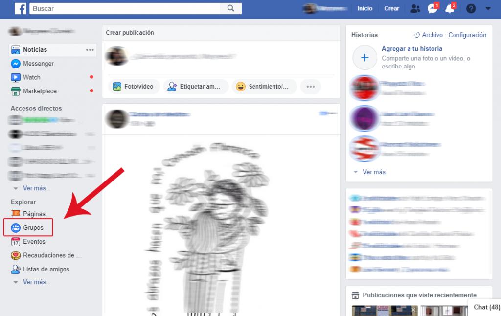 """Tutorial En la sección """"Noticias"""" de tu Facebook hacé clic en """"Grupos"""""""
